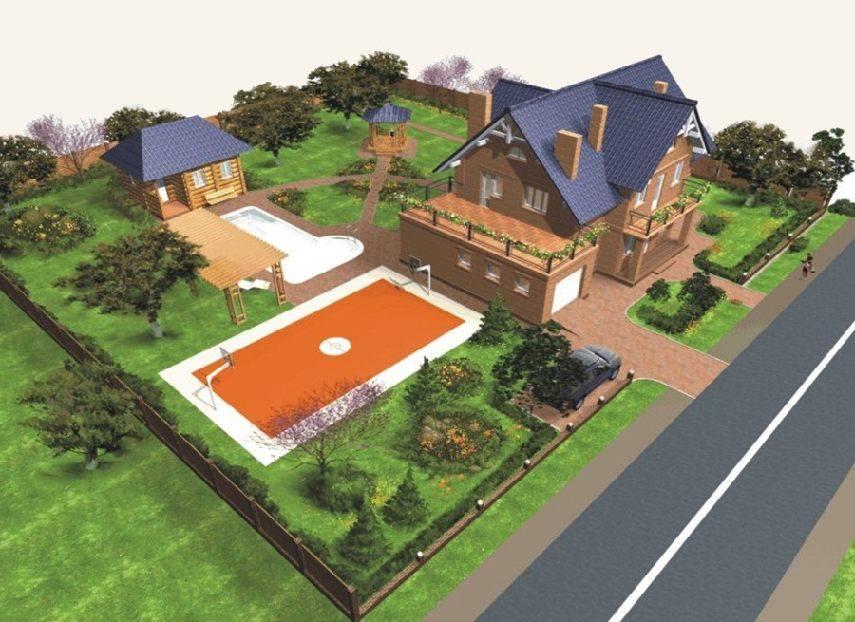 Дизайн участка загородного дома 15 соток фото